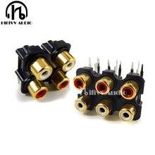 ハイファイ信号ケーブル RCA プラグソケット 4 の方法と 6 方法ゴールドメッキオーディオ AV 雌ソケットコネクタプラグ
