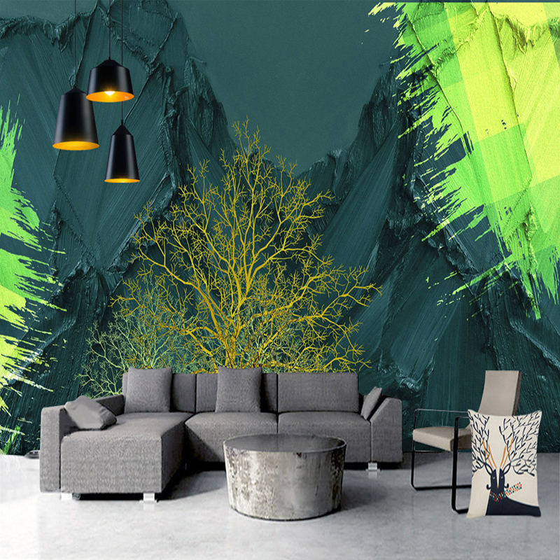 Custom 3D Wallpaper For Bedroom Walls Modern Art Mural Abstract High Mountain Tree Living Room Sofa Background Photo Wall Paper