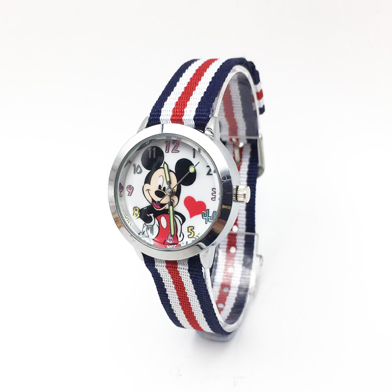 Cartoon Mouse Children's Watch Nylon Strap Buckle Clasp Quartz Wristwatch Kids Girls Boys Students Wrist Watches
