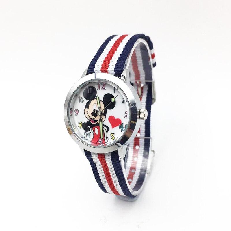Cartoon Mouse Children's Watch Nylon Strap Buckle Clasp Quartz Wristwatch Kids Girls Boys Students Wrist Watches