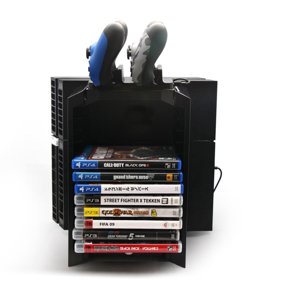 Multifunactional 5V Game Tower Disk Storage Stand Kit Controller Charging With Micro USB Cable For Playstation 4 PS4/Slim(Black)