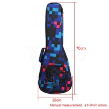 Yibuy 26″ Multicolor Lattice Ukulele Double Shoulder Cotton Bag Carrying Backpack Cover Adjustment Belt for 65-68cm Guitar