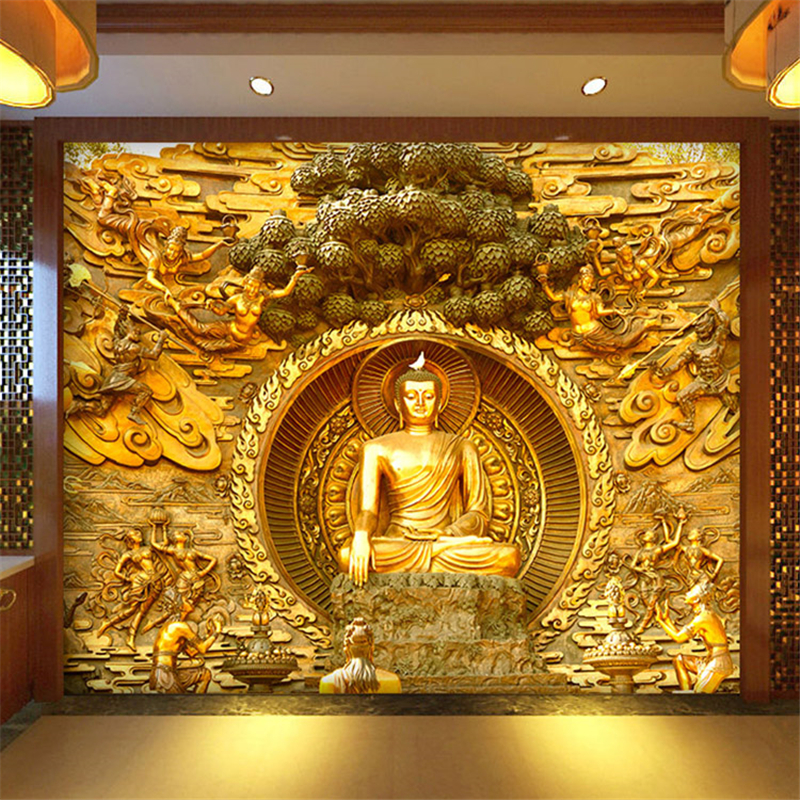 Free Shipping Golden Buddha Buddhist Temple Mural Custom Large Living Room Screen Background Wall Wallpaper 3D Stereo Wallpaper shelf