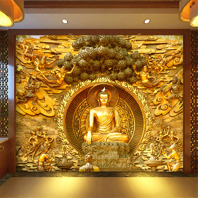 Beibehang Golden Buddha Buddhist Temple Mural Custom Large Living Room Screen Background Wall Wallpaper 3D Stereo