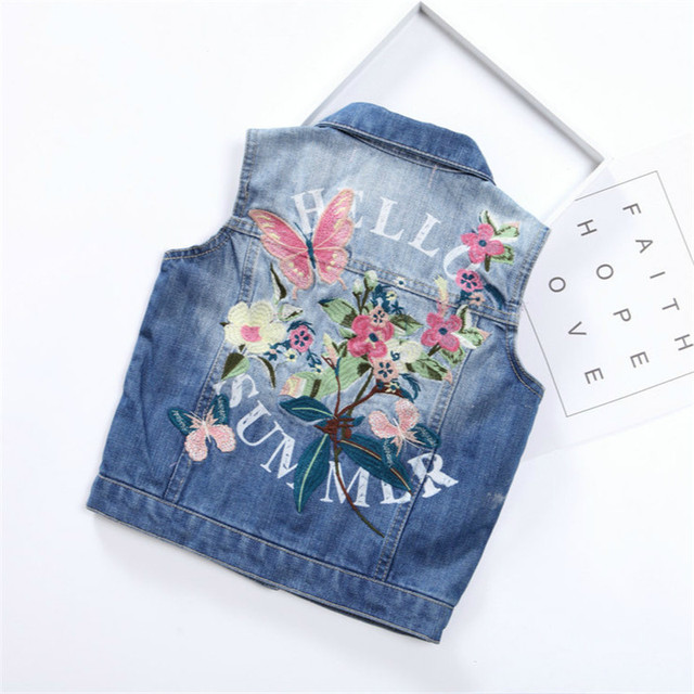 e3e66f07e Baby Girls Clothes Kids Casual Denim Butterfly Floral Printed ...