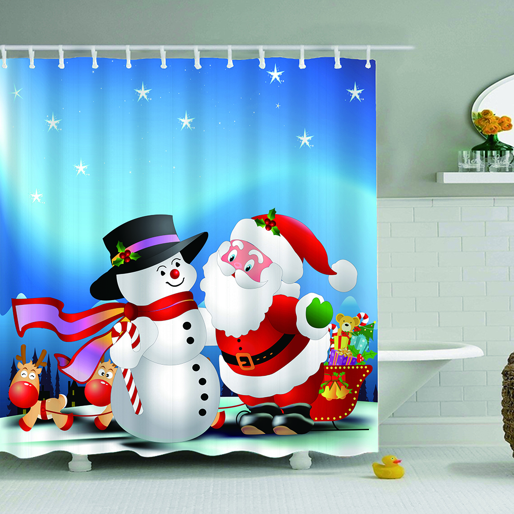Lovely Santa Claus Pattern Shower Curtain Waterproof Polyester Mildewproof for Bathroom Bath Curtains With Hook Christmas Gifts