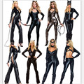 2017 new Sexy Cat Costume Long Sleeve Black Jumsuit Leather Catwoman clothes high quality Halloween cosplay Party Women Costumes