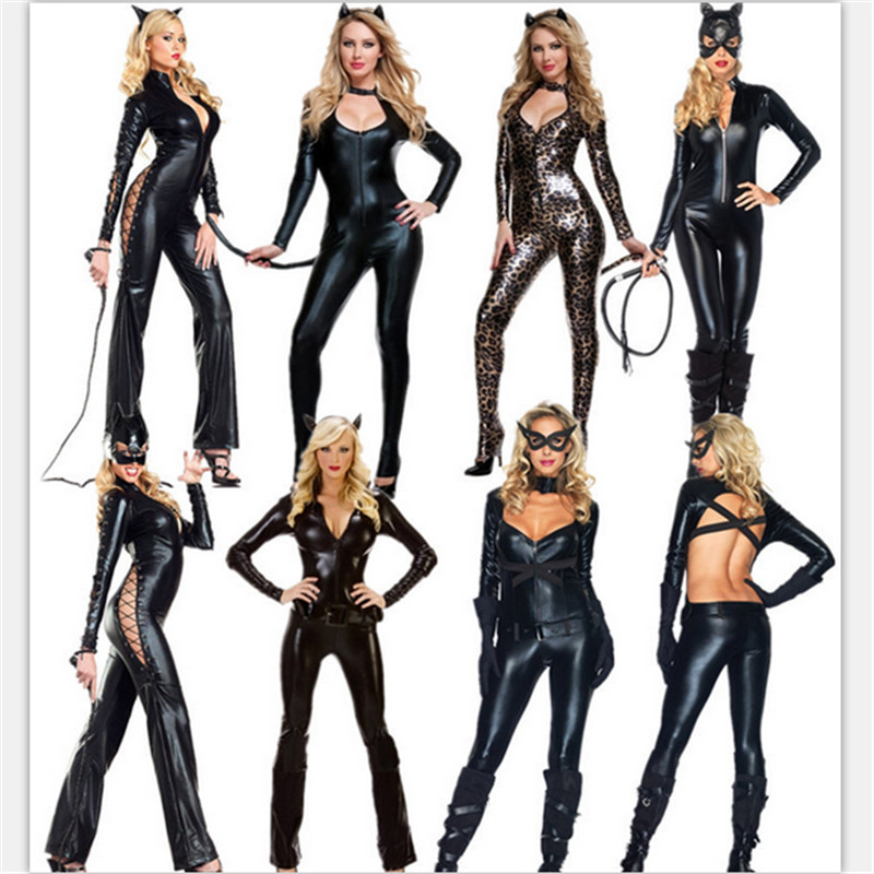 2018 new Sexy Cat Costume Long Sleeve Black Jumsuit Leather Catwoman clothes high quality Halloween cosplay Party Women Costumes