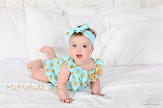 Mint Baby Romper Bubble Polka Dots Romper Aqua Girls outfit Ruffle Romper headband for baby girls baby dress Birthday romper