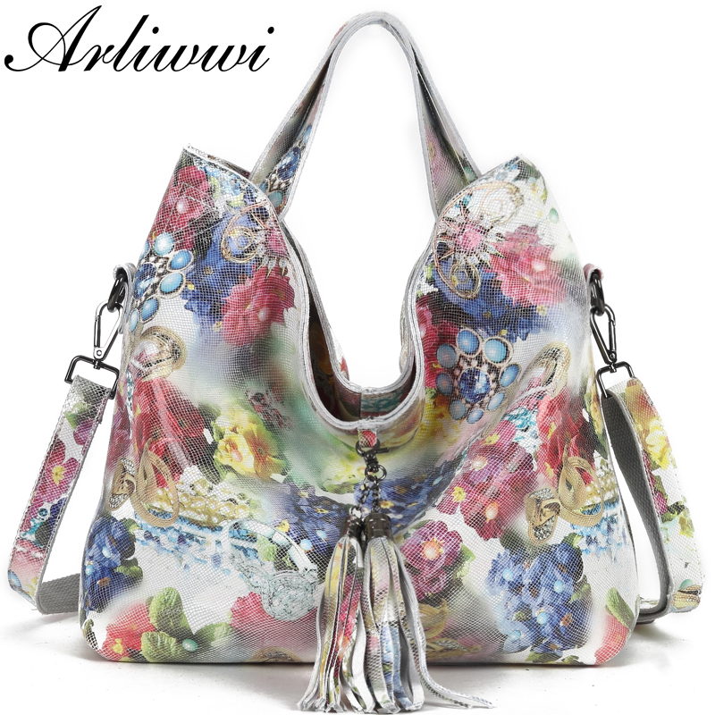 Arliwwi Brand Female Real Leather Shiny Flower Summer Women Tote Handbags New Lily Floral Lady Embossed
