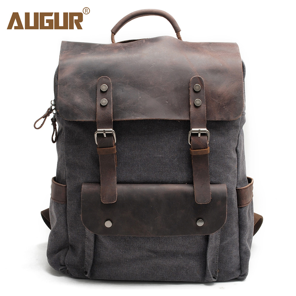 AUGUR Men Backpack Latest Vintage Canvas Leather Men's Casual Daypacks School Bags 15inch Laptop Large Capacity Travel Back pack augur 2018 brand men backpack waterproof 15inch laptop back teenage college dayback larger capacity travel bag pack for male