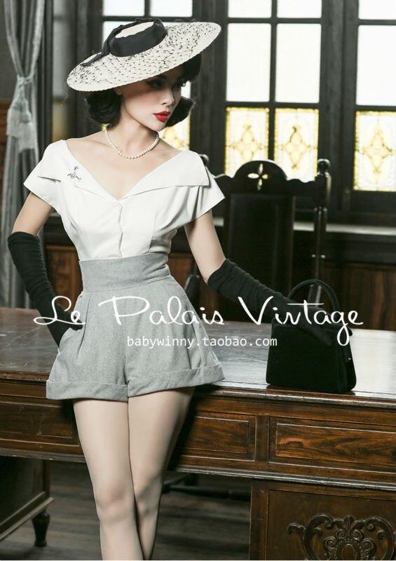 Le Vintage Palais Todo Palabra fósforo Perfil Alta Clásico Lana Una Cintura Retro Elegante Shorts rrHq5