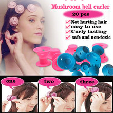 20 Pcs circle Mushroom bell magic hair curlers ni heat cheap rollers spiral tools sfot Silica gel blue and pink curler