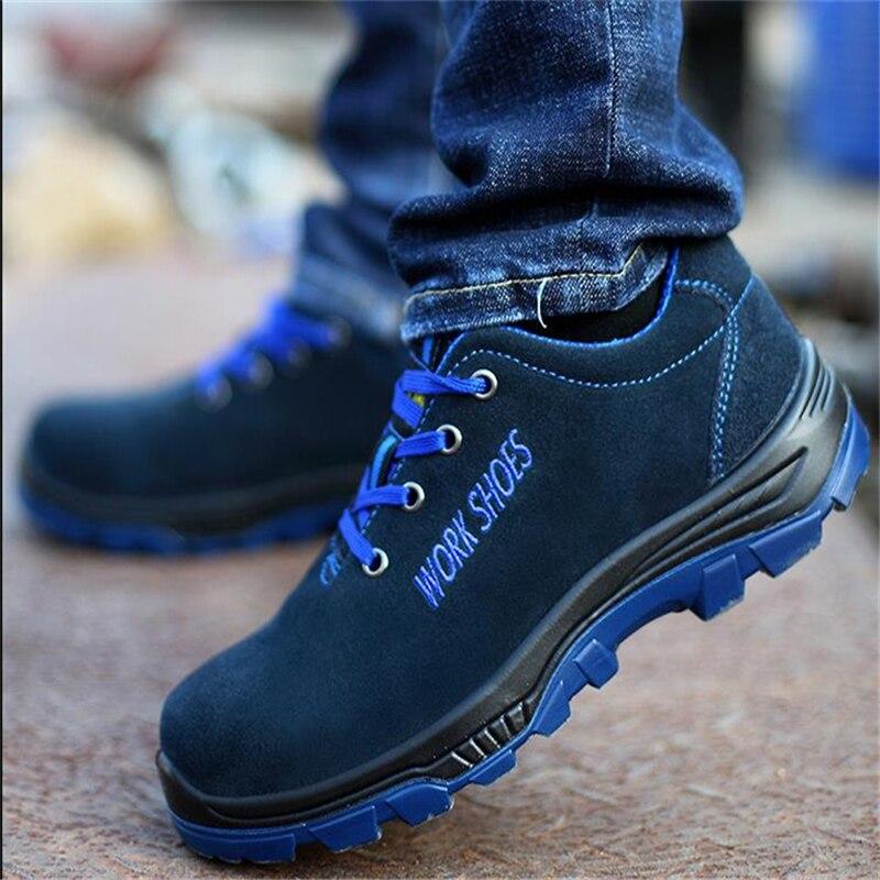 Gli uomini Lavorano Scarpe di Sicurezza Puntale In Acciaio Caldo degli uomini Respirabili di Casual Stivali Puntura di Assicurazione Del Lavoro A Prova di Scarpe di Grandi Dimensioni di Sesso Maschile scarpe
