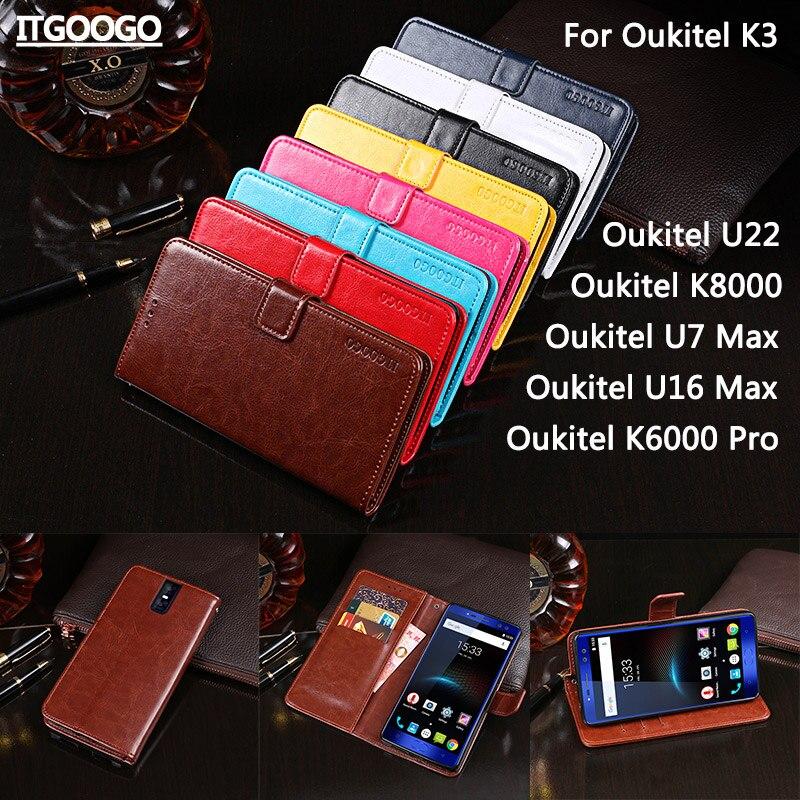 Itgoogo Pour Oukitel K3 Housse De Luxe En Cuir Flip Cas Pour Oukitel K8000/U22/U7 Max/U16 Max/K6000 Pro Couverture Téléphone Cas