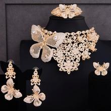 Godki Super Luxe Vlinder Afrikaanse 4 Stuks Bruids Zirkoon Cz Sieraden Sets Voor Vrouwen Weddingdubai Nigeria Crystal Party Sieraden Set