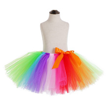 Rainbow Skirt Knee Length Nylon Mesh Tulle Skirt Kids Back to School Costume Happy Easter Party Tutu Skirt with Ribbon Bowknot
