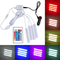 New 4pcs Car RGB LED Strip Light Aluminum Strip Lights 16 Colors Car Styling Decorative Atmosphere