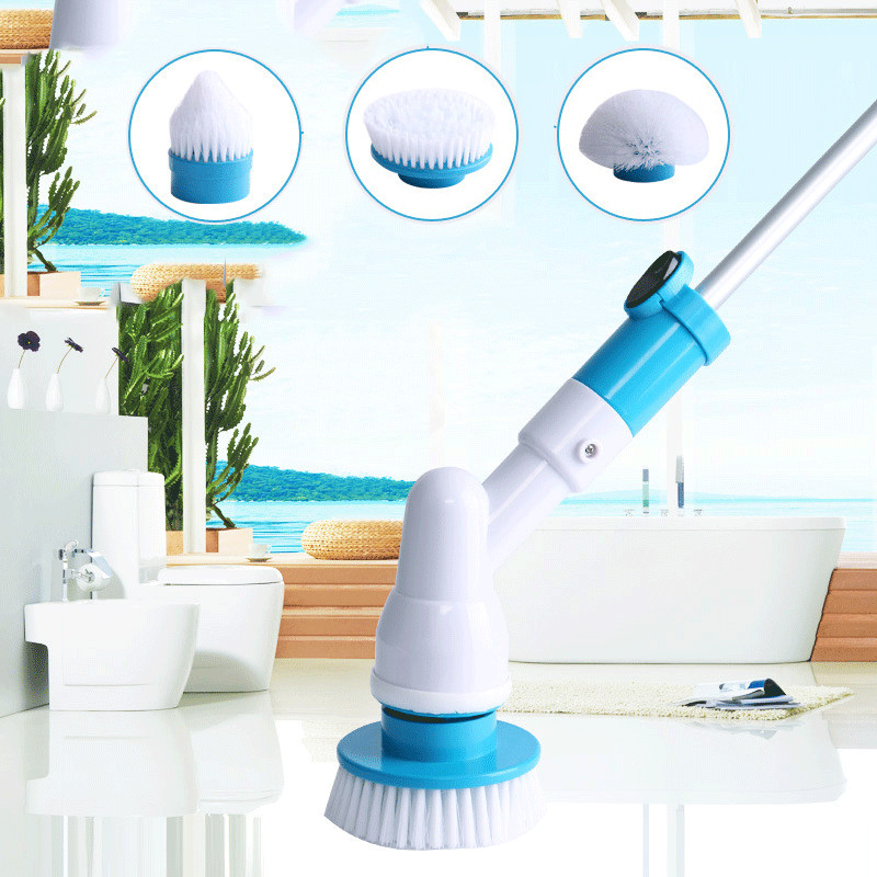 Rechargeable Spin Turbo Scrub Powerful Cleaning Brush with Extension Handle for Bathroom with 3 Brush Heads Automatic Cleaner