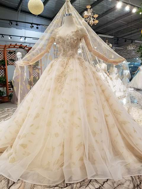 cd12d3b0fe5 placeholder QUEEN BRIDAL Evening Dresses Ball Gown 3D Flowers Fluffy Beaded  Long Champagne Party Dress Evening Gowns
