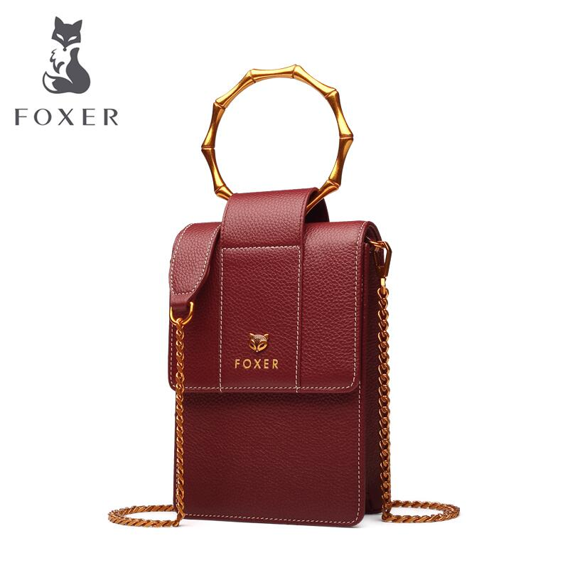 FOXER 2018 new fashion mini mobile phone package Female bag leather small square package Retro Shoulder Messenger Bag