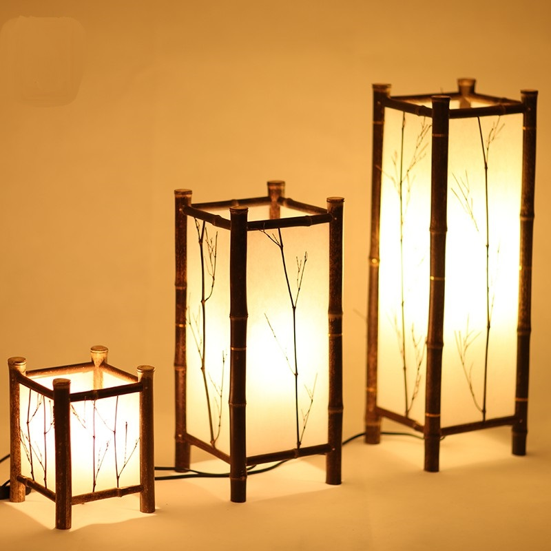 Wionwner Bamboo Lamp And Floor Lamps Dining Room Bedroom Table Japanese Tatami Chinese Style Decoration ZH