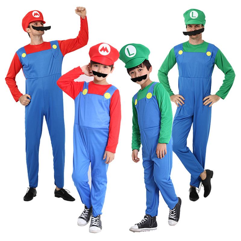 Adults Kids Halloween Super Mario Funny Cosplay Costume Mario Parent-child Jumpsuit Hat Set Christmas Gift Fancy Party Costume