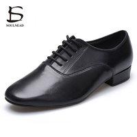 Professional Black Leather Men Boys Latin Dance Shoes Low Heels Tango Salsa Modern Dance Shoes For Man Rubber Sole Dancing Shoes