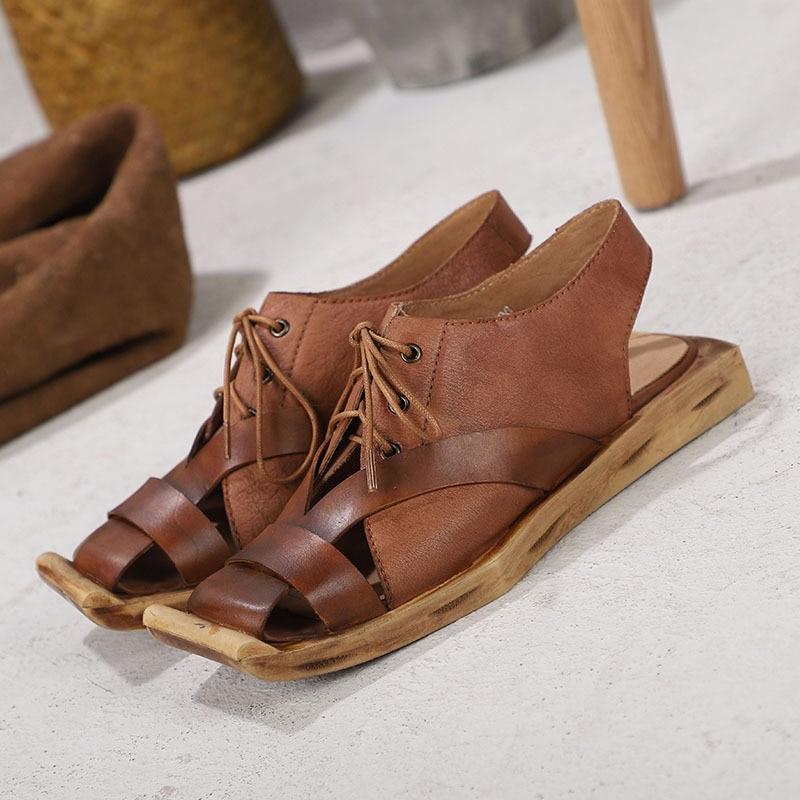 Personnalité Véritable Sandales Pour Femmes Camel En Décontractées Main Cuir D'été Nouvelle Printemps Chaussures Confortable Rétro À Et D'origine Artdiya La Plat gX7x11