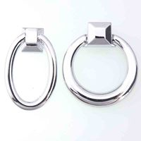 Modern Simple Drop Rings Furniture Knobs Silver Drawer Cabinet Elipso Rings Knobs Pulls Chrome Dresser Round