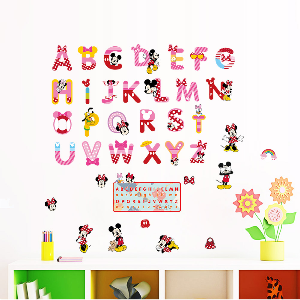 Minnie mickey alfabeto dibujos animados letras divertidas - Pegatinas pared ninos ...