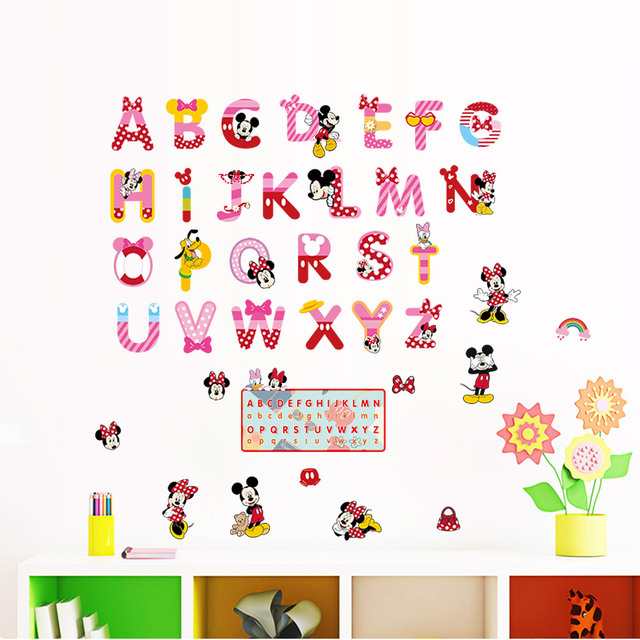 minnie mickey alphabet cartoon funny letters wall stickers kids room decoration nursery mural art home decals children gift
