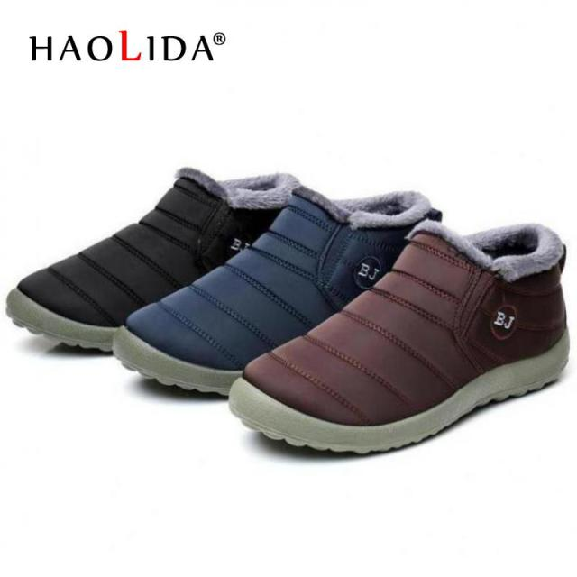 fec8413fdf857 Waterproof Women Winter Shoes Couple Unisex Snow Boots Warm Fur Inside  Antiskid Bottom Keep Warm Mother Casual Boots 35-45 Size