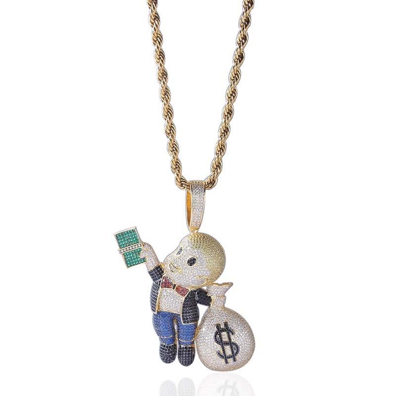 Personnalisé en gros hommes couleur or plaqué hip hop collier bijoux argent sac pendentifs livraison directe APK3021