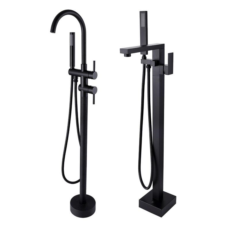 Новый отдельно стоящий для ванной носик для душа напольное крепление душевой набор смеситель клапан 2 функции матовый черный ванна Наполни...