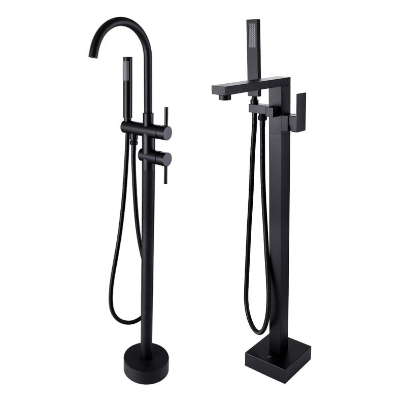 Autônomas Piso Do Chuveiro Montar chuveiro Misturador do Banho De Bica Banheira Filler Mixer Torneiras Válvula Função 2 Preto Fosco