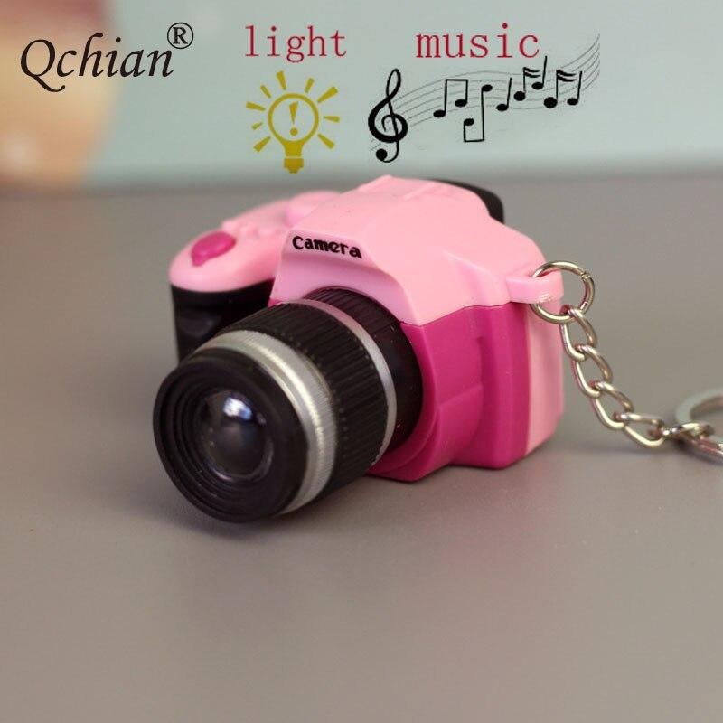 Fashion Mini LED Glowing Sound SLR Camera Toy Decoration Pendant Keychain Photography Souvenir Keyring Small Gift