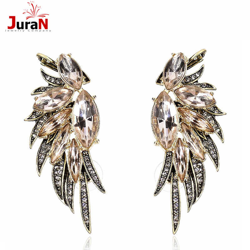 JURAN Party Jewelry High Quality Angel Wings Rose  Filled Glowing Austrian Crystal Stud Luxury Women Earrings X3413