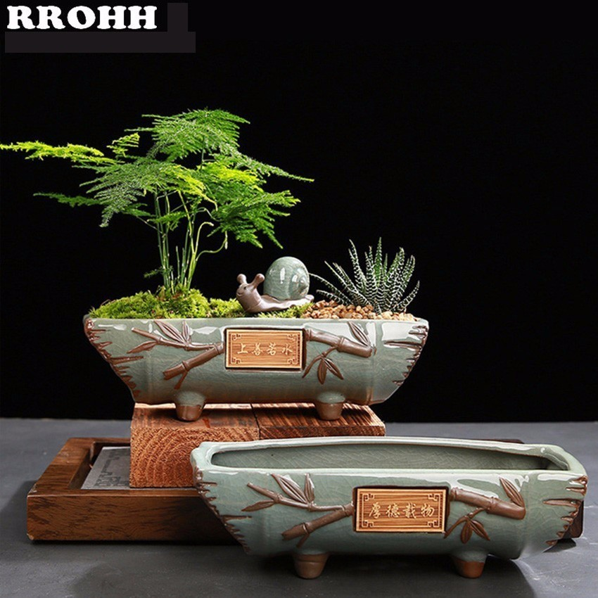 Creative Ceramic vintage Flower Pot Simple Succulent Plant Container Green Planters Bonsai Pots Flowerpot Home Decoration