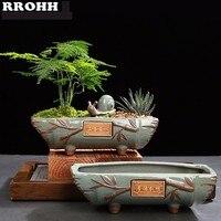 Creative Ceramic vintage Flower Pot Simple Succulent Plant Container Green Planters Bonsai Pots Flowerpot Home Decoration