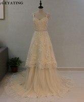 Two 2 Pieces Wedding Dresses 2018 Spaghetti Straps Lace Bridal Gowns Hi Lo Short Detachable Skirt
