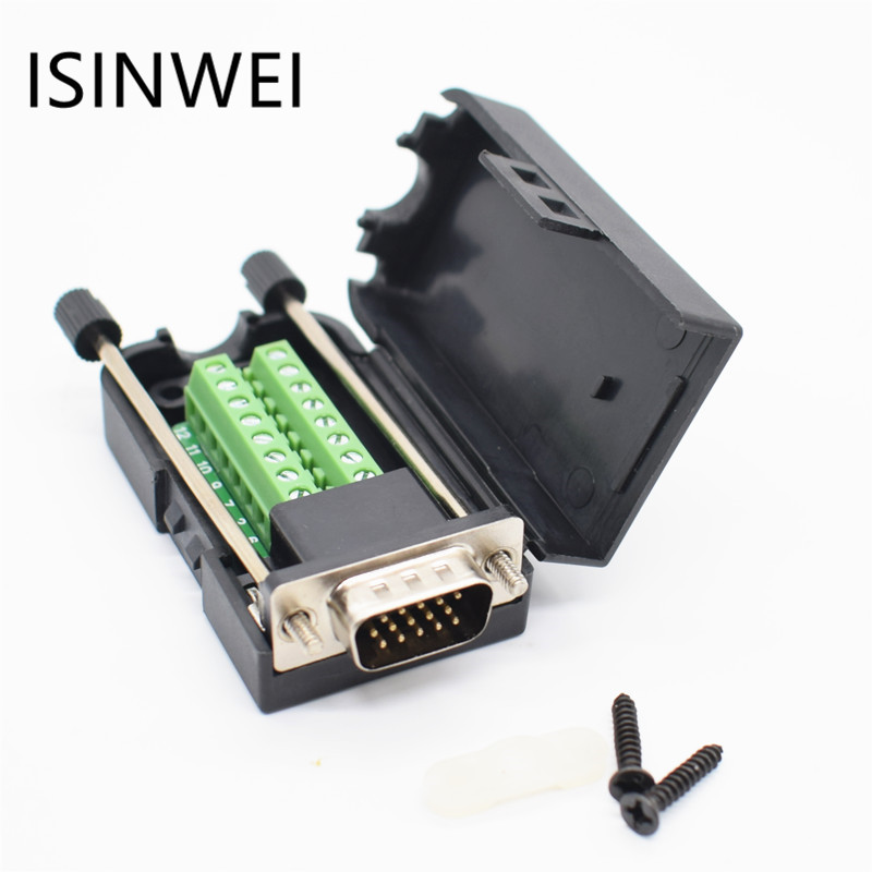 D-SUB DB15 VGA Male 3 Rows 15 Pin Plug Breakout Terminals Screw Type DIY Connector 100 pcs d sub 15 pin male solder type plug adapter vga connector serial ports db15m