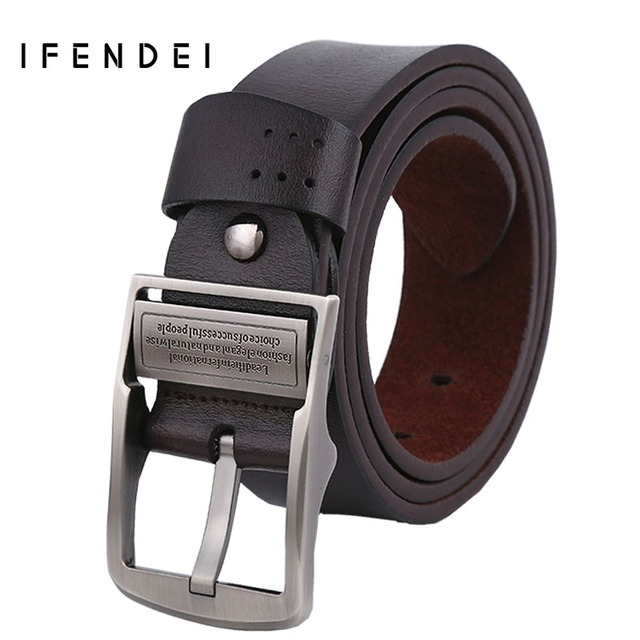 IFENDEI Hot Leather Belt Men Designer Belts Men High Quality Casual Genuine Leather Waist Belt 130cm Buckle Ceinture Homme Black