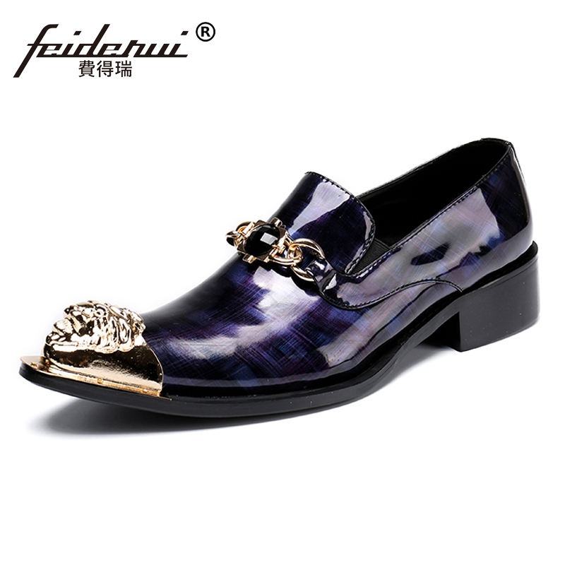 Plus Size Handmade Rhinestone Man Wedding Party Loafers Patent Leather Pointed Toe Slip on Runway Men's Punk Rocker Shoes SL24 plus size pointed toe slip on man glitter punk loafers luxury genuine leather studded wedding party men s runway shoes sl31