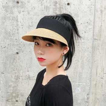 86275089 Sombreros de sol de las mujeres de ala grande disquete verano Playa Sol  sombrero de paja botón tapa ...