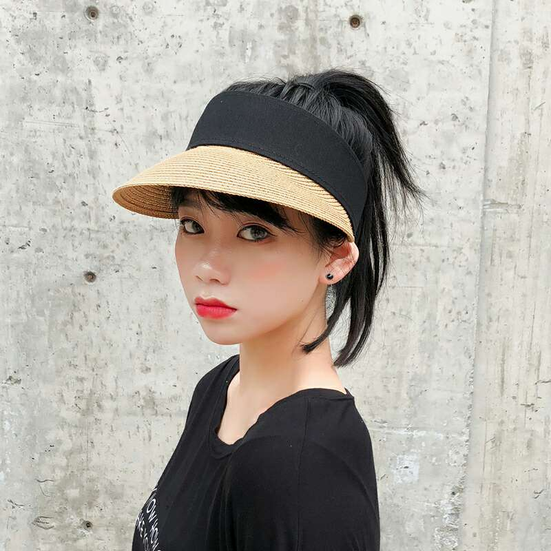 Sun Hats Women Wide Large Brim Floppy Summer Beach Sun Hat Straw Hat Button Cap Summer Truck For Women Anti-uv Visor Cap Female