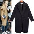 Nova moda mulheres casaco Casulo famalel sobretudo De Lã feminino de médio-longo primavera outono inverno magro mistura de lã outerwear casaco