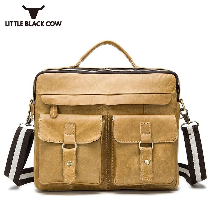 High Quality Large Capacity Male Handbag Vintage Genuine Leather Bags For Men Business Casual Office Shoulder Bag Messenger Bag