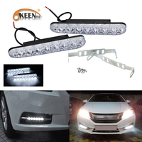 OKEEN Car Styling LEDs DRL Daytime Running Lights 8 LED White Light Waterproof Crystal Case 2PCS