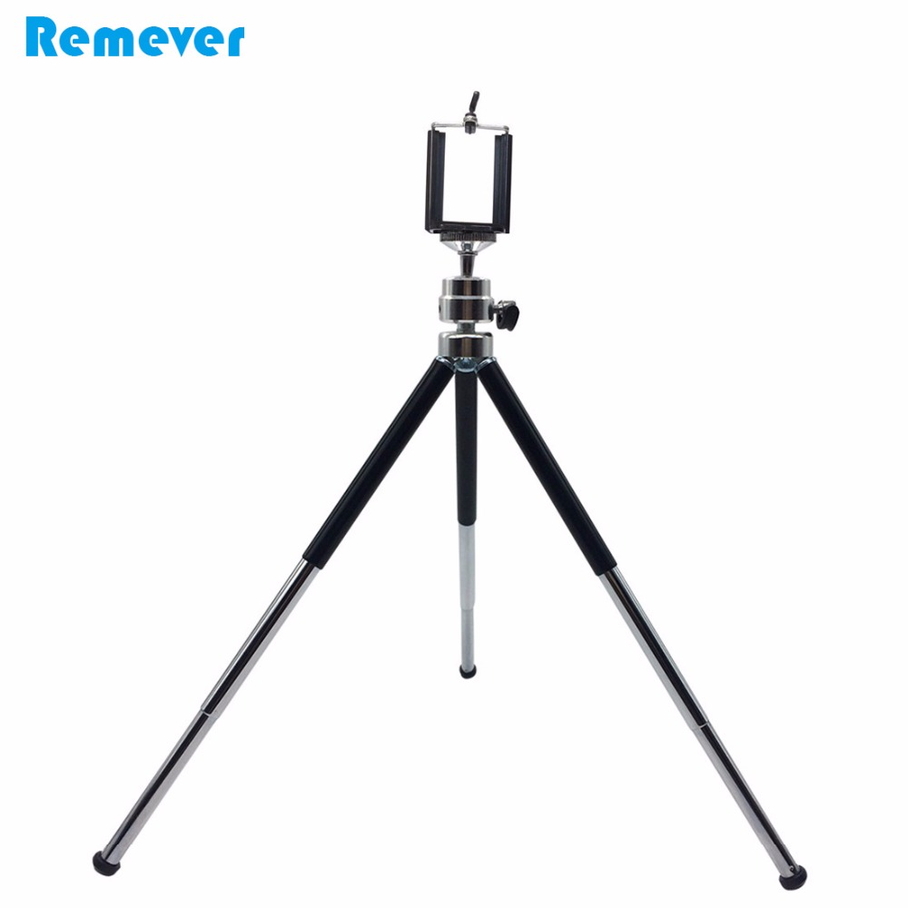 15.5-30CM 3 Sections Extendable Metal Portable Tripods with Phone Holder For Gopro Cameras Xiaomi Iphone Samsung Huawei Phones